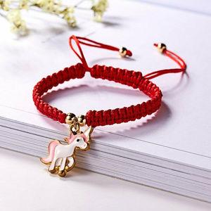 Pink Unicorn Gold Charm Red Rope Bracelet Handmade